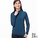 zuzai 自在發熱衣女BIELLA YARN高領羊毛衫-靛藍色