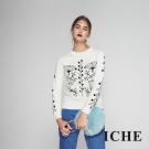 ICHE衣哲 時尚清新印花造型羊毛針織毛衣上衣-白