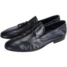 MORESCHI 深藍色復古流蘇牛皮樂福鞋(展示品)