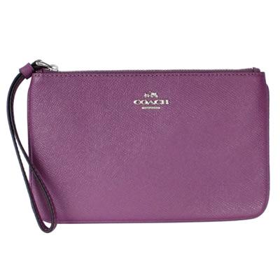 COACH淡紫色防刮皮革銀字飾牌萬用手拿包(中)