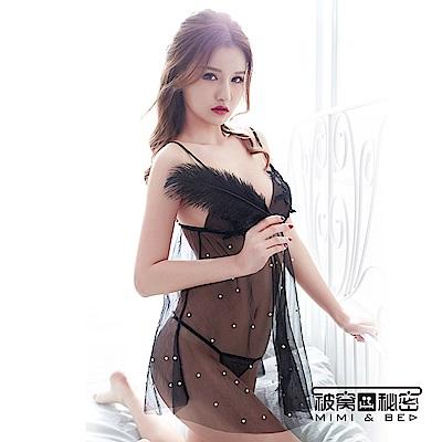 性感睡衣 繡花珍珠輕透薄紗睡裙。神秘黑 被窩的秘密