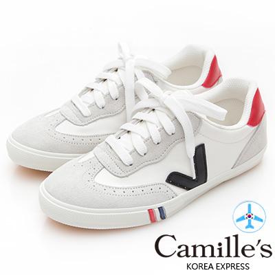 Camille's 韓國空運-正韓製-撞色側V牛津綁帶帆布休閒鞋-黑色V