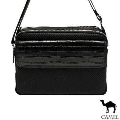 CAMEL - 奢華經典配牛皮荔枝紋休閒側背包