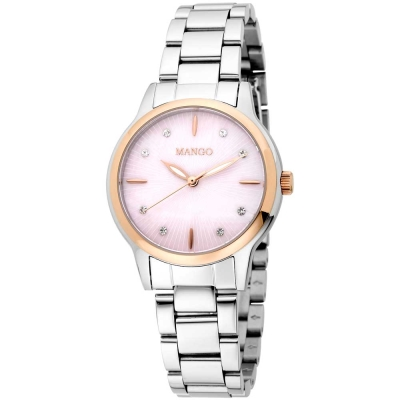MANGO 簡約經典無時標晶鑽不鏽鋼鍊錶-銀色/玫瑰金-34mm