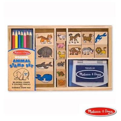 美國瑪莉莎 Melissa & Doug 美勞創意 木製印章-海陸動物組,24pcs