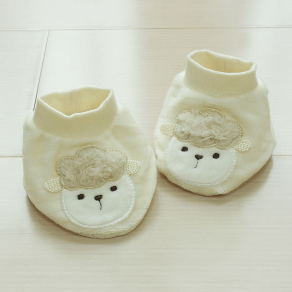GMP BABY 舒適條絨羊卡其色造型腳套2雙