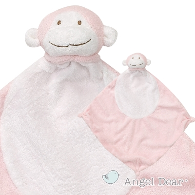 美國 Angel Dear 動物嬰兒安撫巾 (粉紅小猴)