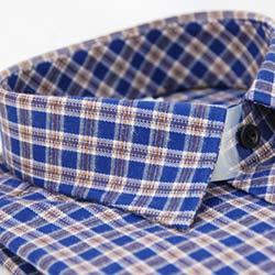 金‧安德森 藍棕中格紋厚暖長袖襯衫