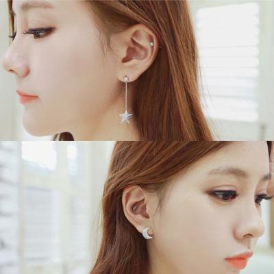 梨花HaNA-韓國垂綴不對襯美好星月共舞耳環精裝版
