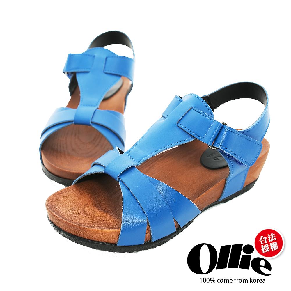 Ollie韓國空運-正韓製真皮剪裁T型厚底涼鞋-藍