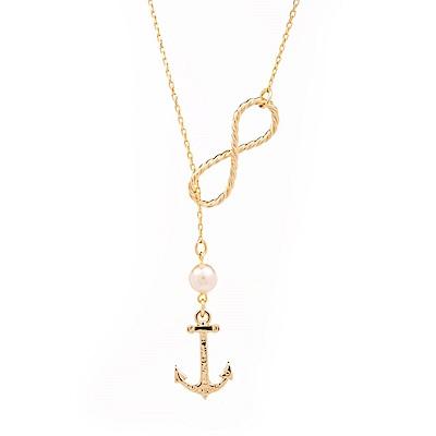 Kiel James Patrick 美國手工無限船錨珍珠單圈項鍊
