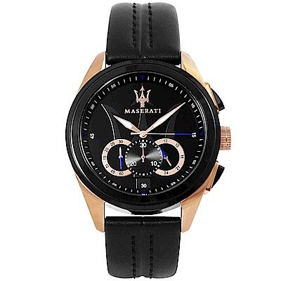 MASERATI 瑪莎拉蒂TRAGUARDO三環計時手錶-黑X玫瑰金/45mm