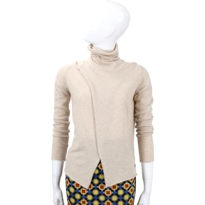 Andre Maurice  杏色高領裁片造型長袖上衣(100% CASHMERE)