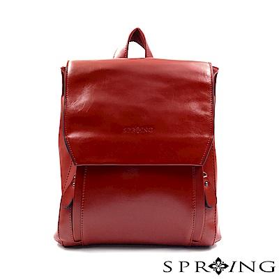 SPRING - 簡約牛皮方形後背包-紅