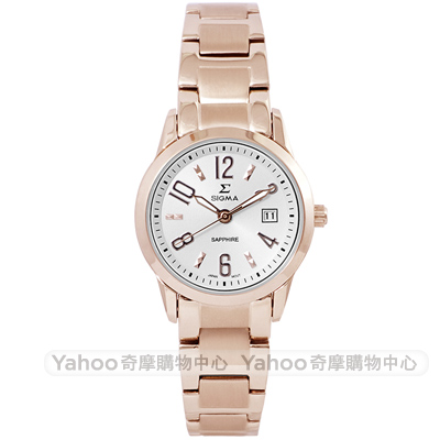 SIGMA 質感簡約時尚手錶-白X玫瑰金/26mm