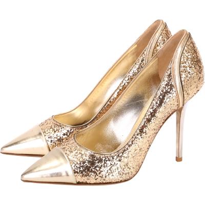 Salvatore Ferragamo SUSI 金色亮片拼接尖頭高跟鞋(展示品)