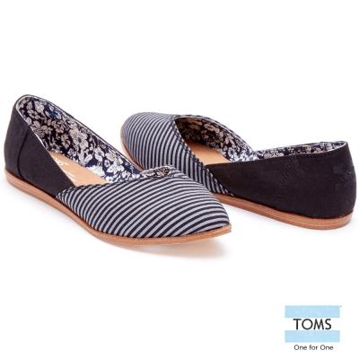 TOMS 條紋拼接平底尖頭鞋-女款(黑)