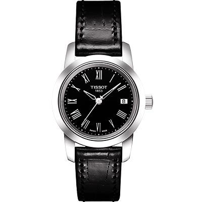 TISSOT CLASSIC DREAM 經典皮帶女錶(黑)-28mm