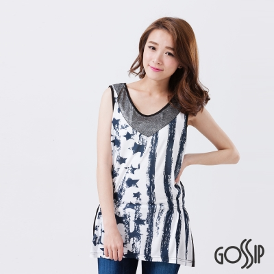 Gossip-無袖拼接縮腰造型上衣