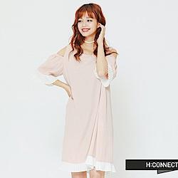 H:CONNECT 韓國品牌 女裝 - 露肩百折拼接連身洋裝-粉