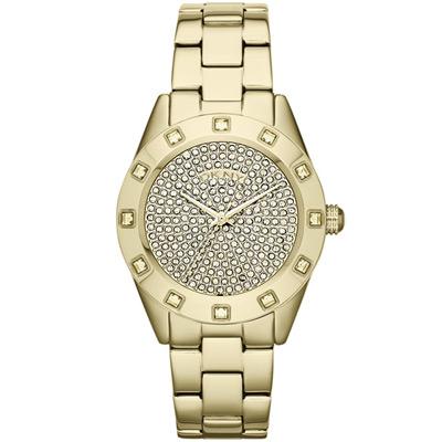 DKNY 璀璨靈魂晶鑽時尚腕錶-金x鋼帶/37mm