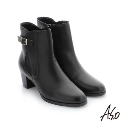 A.S.O 心機美靴 牛皮金屬飾釦中筒靴 黑色