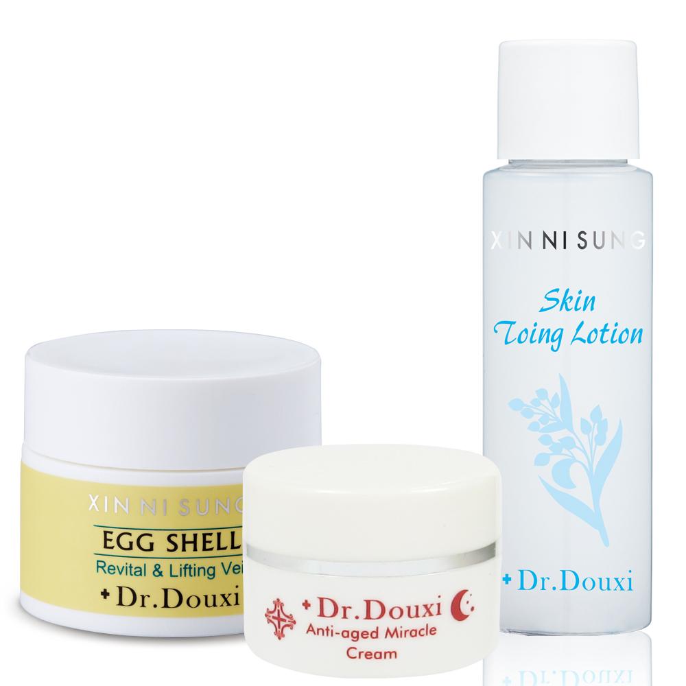 Dr.Douxi朵璽 滑蛋肌體驗組(健康水30ml+卵殼膜20g+熬夜霜10g)