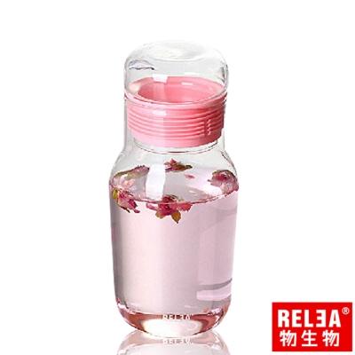 香港RELEA物生物 320ml艾呆呆耐熱玻璃密封水杯附保溫杯套(粉色)
