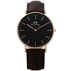 DW Daniel Wellington 旗艦真皮手錶-黑x玫瑰金框x深咖啡/36mm
