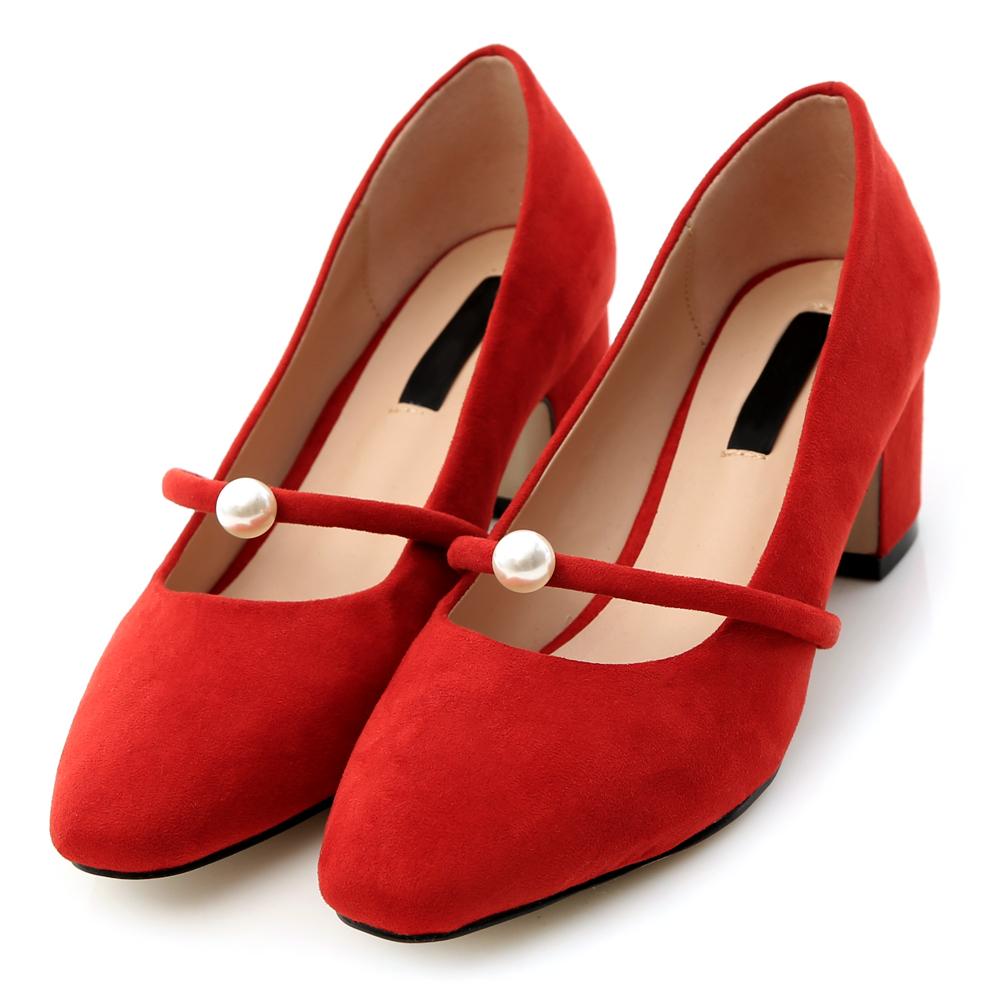 D AF 美麗甜心.珍珠小方頭瑪莉珍跟鞋*紅