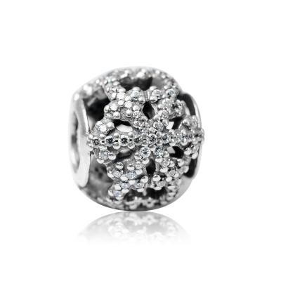 Pandora 潘朵拉 圓形鏤空鑲鋯雪花造型 純銀墜飾 串珠