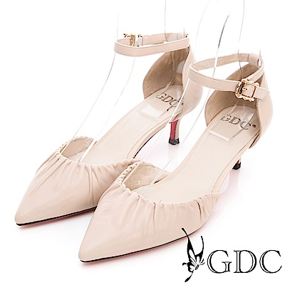 GDC-真皮時尚抓皺尖頭低跟涼鞋-米色