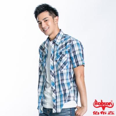 BOBSON 男款格紋短袖襯衫(淺藍23003-53)
