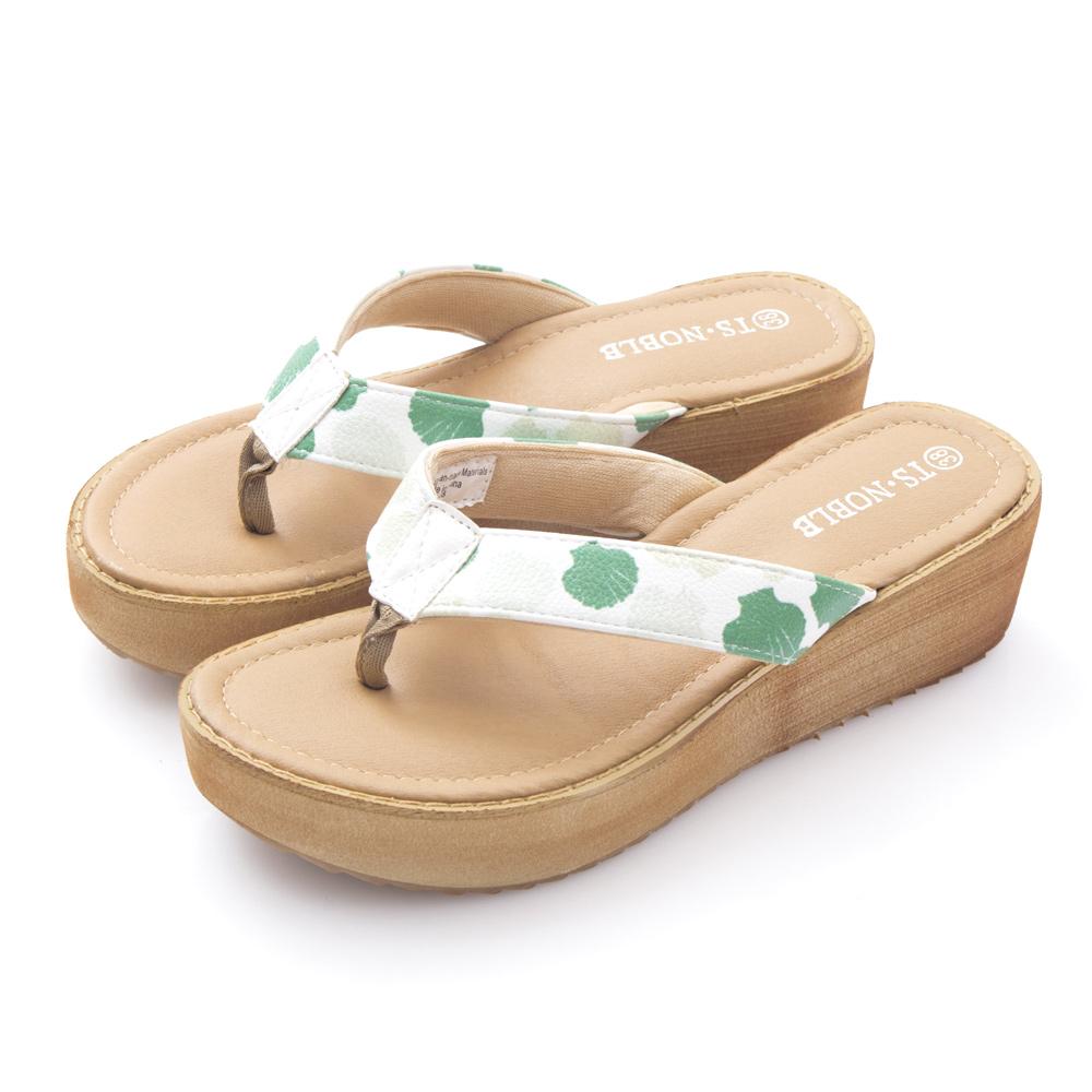 JMS-可愛貝殼印花舒適厚底夾腳涼拖-綠色