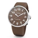 brosway Oblo Aviatore 義式極簡風格矽膠碗錶-淺咖啡色/44.2mm