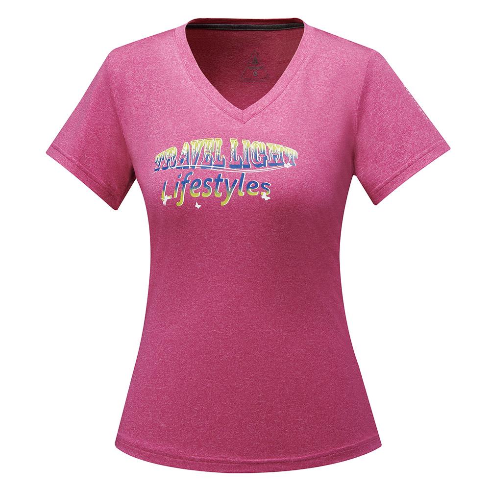 【ATUNAS 歐都納】ATUNAS-TEX吸溼排汗女短T恤A-T1705W玫紅