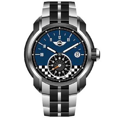 MINI Swiss Watches Cooper賽車概念時尚手錶-藍X銀/45mm