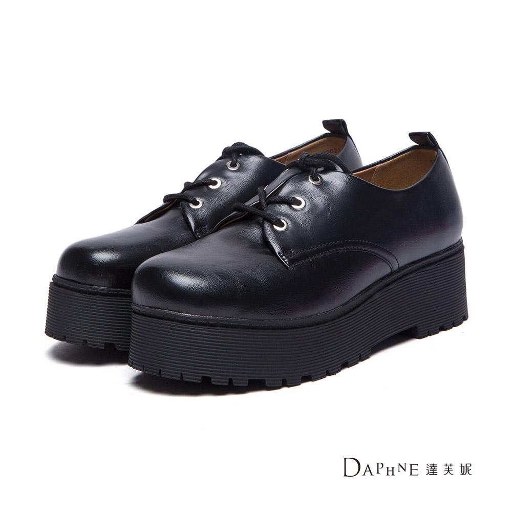 達芙妮DAPHNE 牛津鞋-金屬仿舊刷色綁帶厚底牛津鞋-黑8H