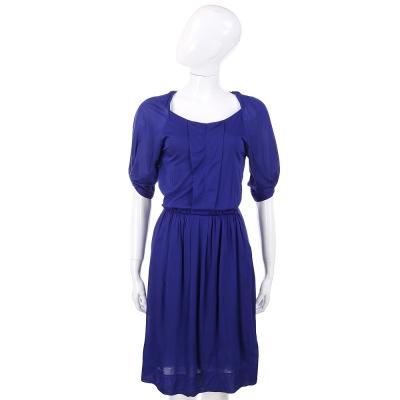 PHILOSOPHY-AF 藍色皺褶設計短袖洋裝