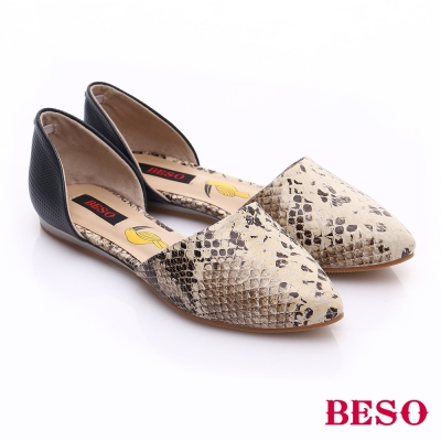 BESO 搖滾街頭 真皮拼接3D印刷圖騰平底鞋 米色