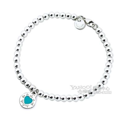 Tiffany&Co. 粉藍愛心圓牌吊飾925純銀串珠手鍊