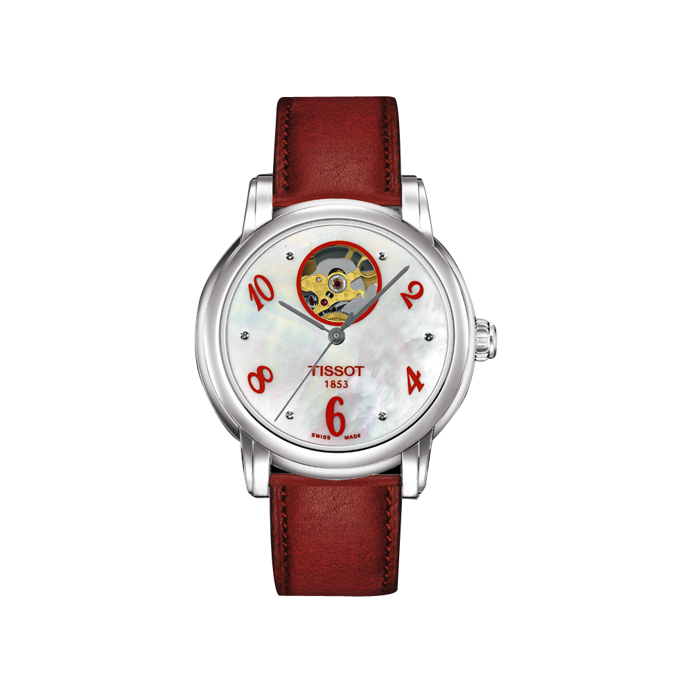 TISSOT Lady Heart 心跳鏤空機械腕錶-紅/35mm