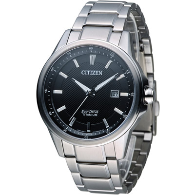 CITIZEN Eco-Drive 光動能鈦時尚腕錶(AW1490-84E)-黑/42mm