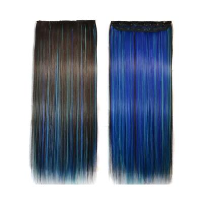 狐狸姬   髮片一片無痕接髮片造型假髮髮片(藍桃染直髮)