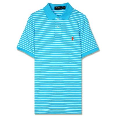 Ralph Lauren 小馬透氣純棉細條紋POLO衫(水藍)
