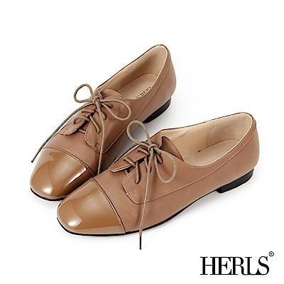 HERLS 內真皮 俐落小方頭拼接牛津鞋-卡其色
