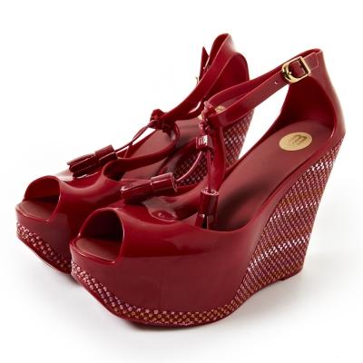 Melissa-時尚流蘇楔型厚底鞋-紅