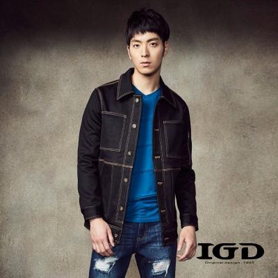 IGD英格麗-彈性面料V領素面斜條剪接長袖上衣