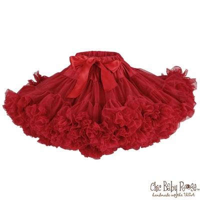 Chic Baby Rose 紅色手工雙層雪紡澎裙
