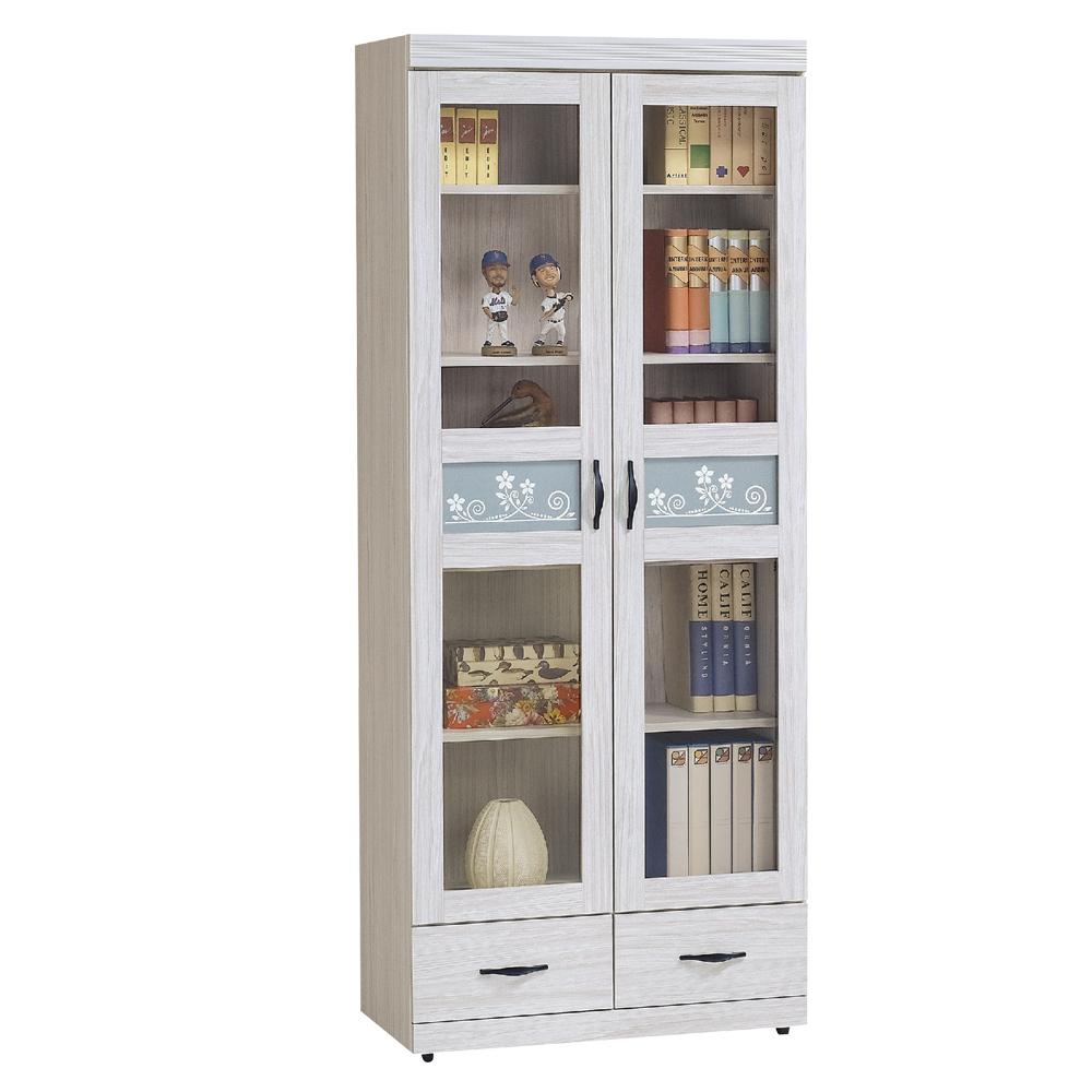 Boden-維卡斯2.7尺二門二抽書櫃/收納櫃/展示櫃-81x42x195cm